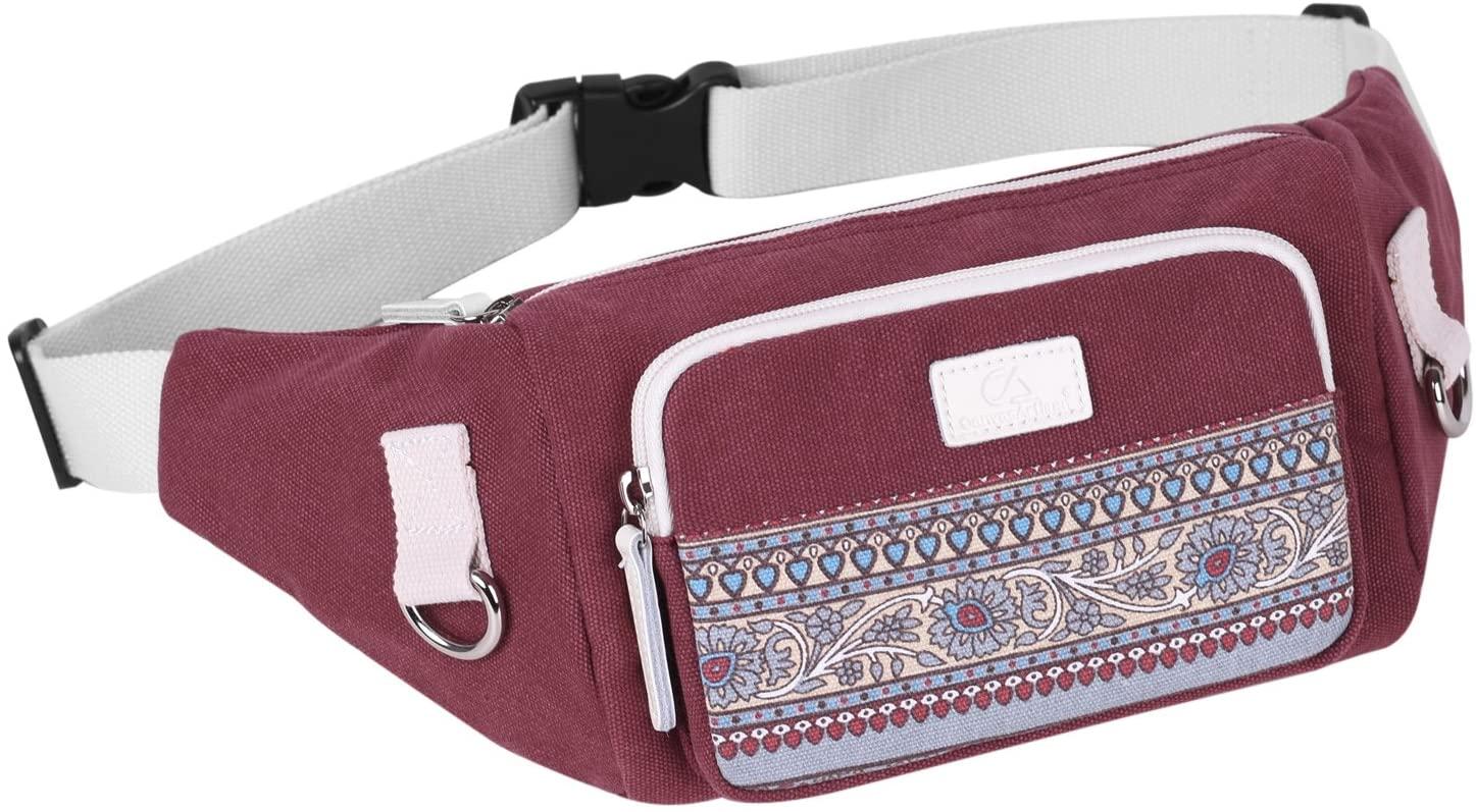 ArcEnCiel Fanny Pack for Women Waist Bag Hip Belt Outdoor Bumbag (Maroon)