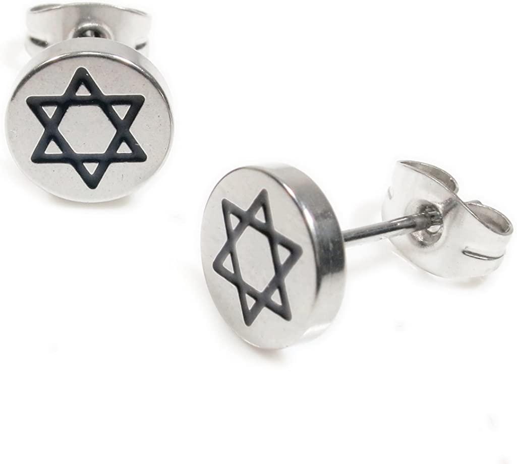 Pair Stainless Steel Silver Black Jewish Star Post Stud Earrings 8mm