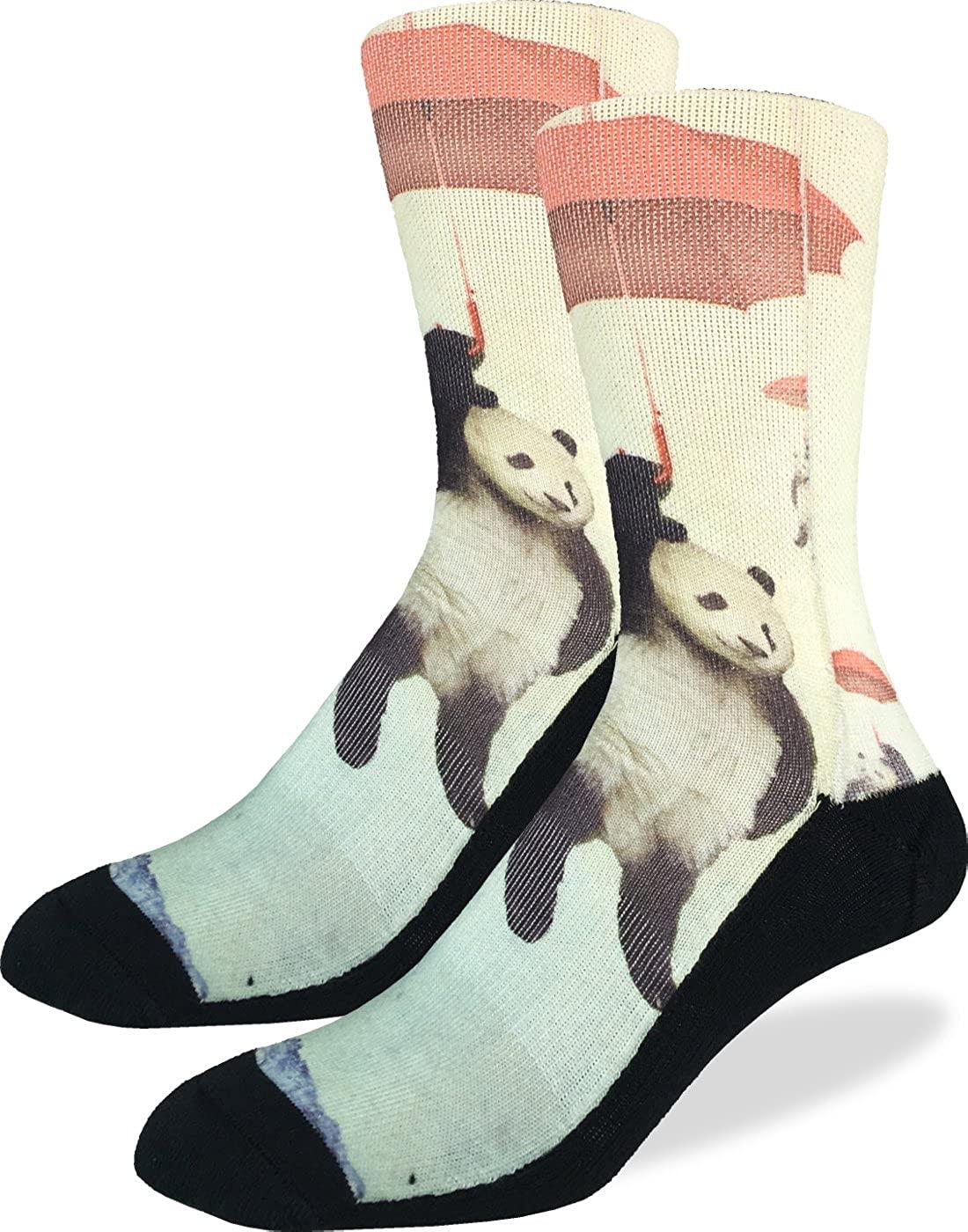 Good Luck Sock Men's Panda Crew Socks - Grey, Adult Shoe Size 8-13