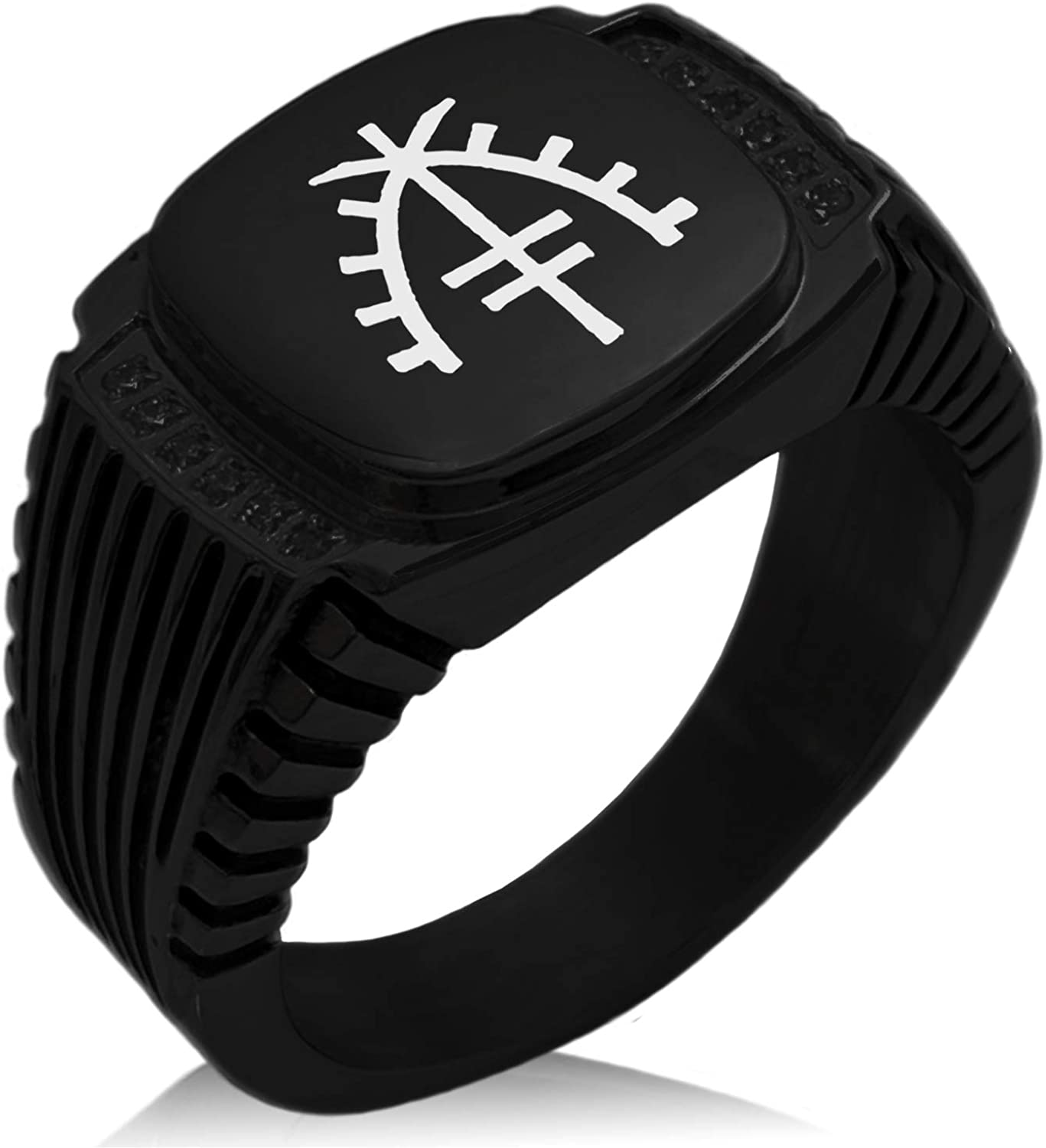 Tioneer Stainless Steel Ward Emblem CZ Ribbed Needle Stripe Pattern Biker Style Polished Ring