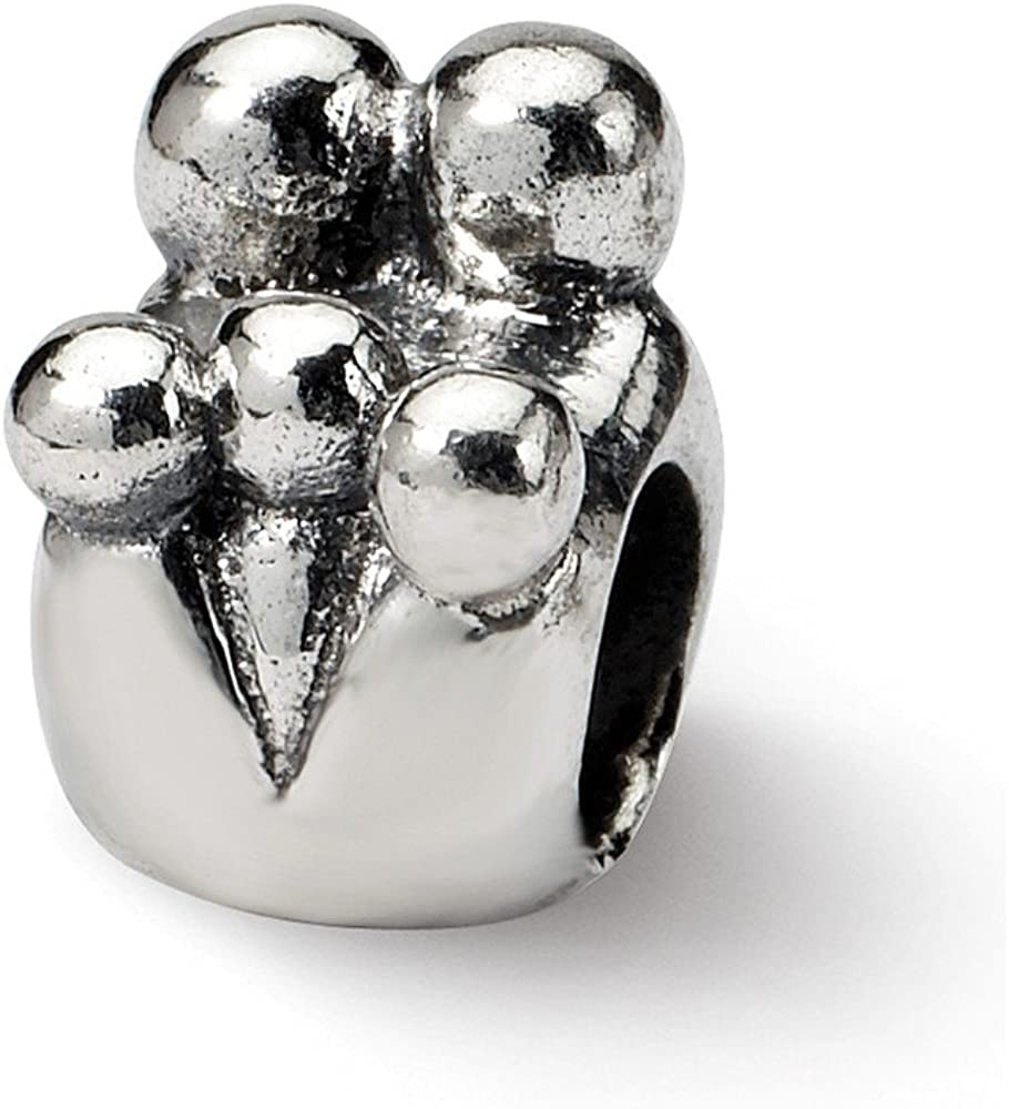 Bead Charm White Sterling Silver Themed 10 mm 7.27 Reflections Family Of 5