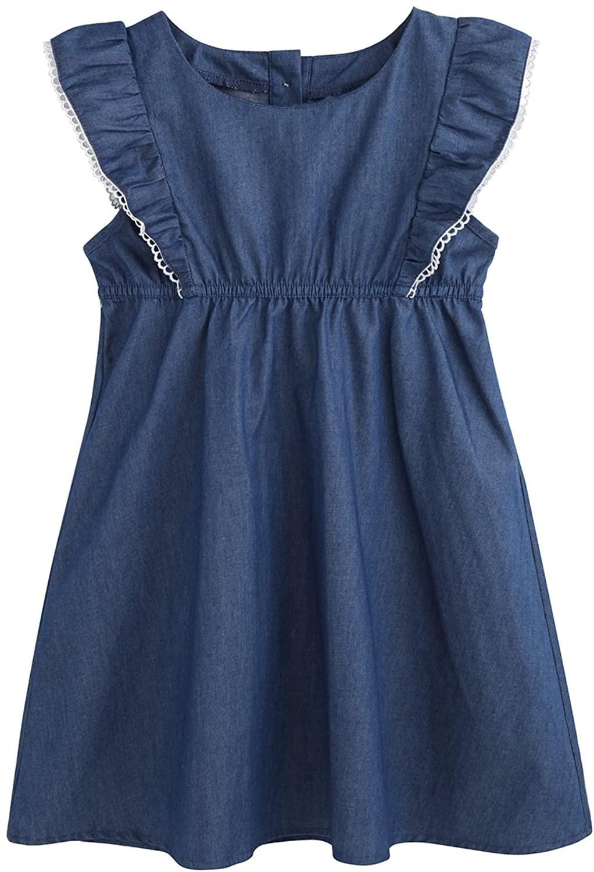 MIQI Toddler Girl Denim Dress Casual Summer Skirt Cotton Sleeveless PlayerWear Dress for Girls (3-8 Years)