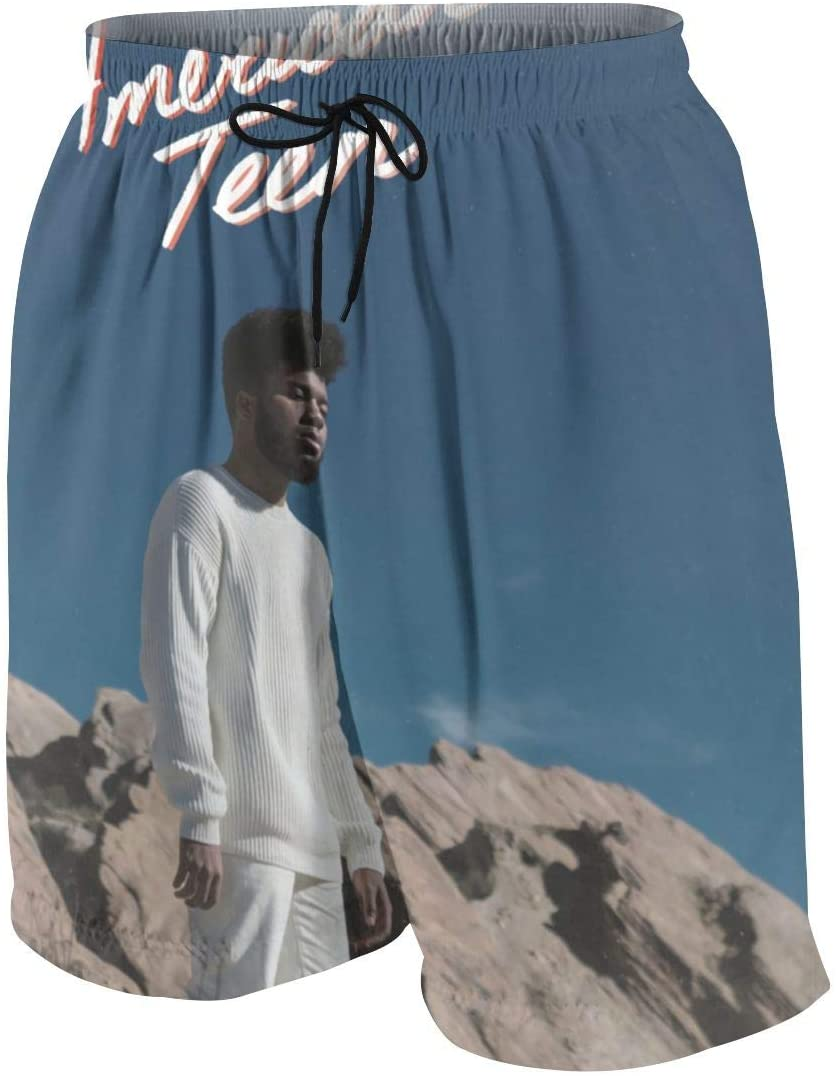 Ktdbthut Khalid Men's Fashion Beach Swimming Trunks Boxer Brief Quick Dry Swimsuit Underwear Boardshorts with Pocket White