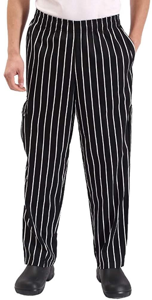 Men's Classic Multi Pocket Baggy Chef Pant Black White Stripe Cargo Style Chef Uniforms