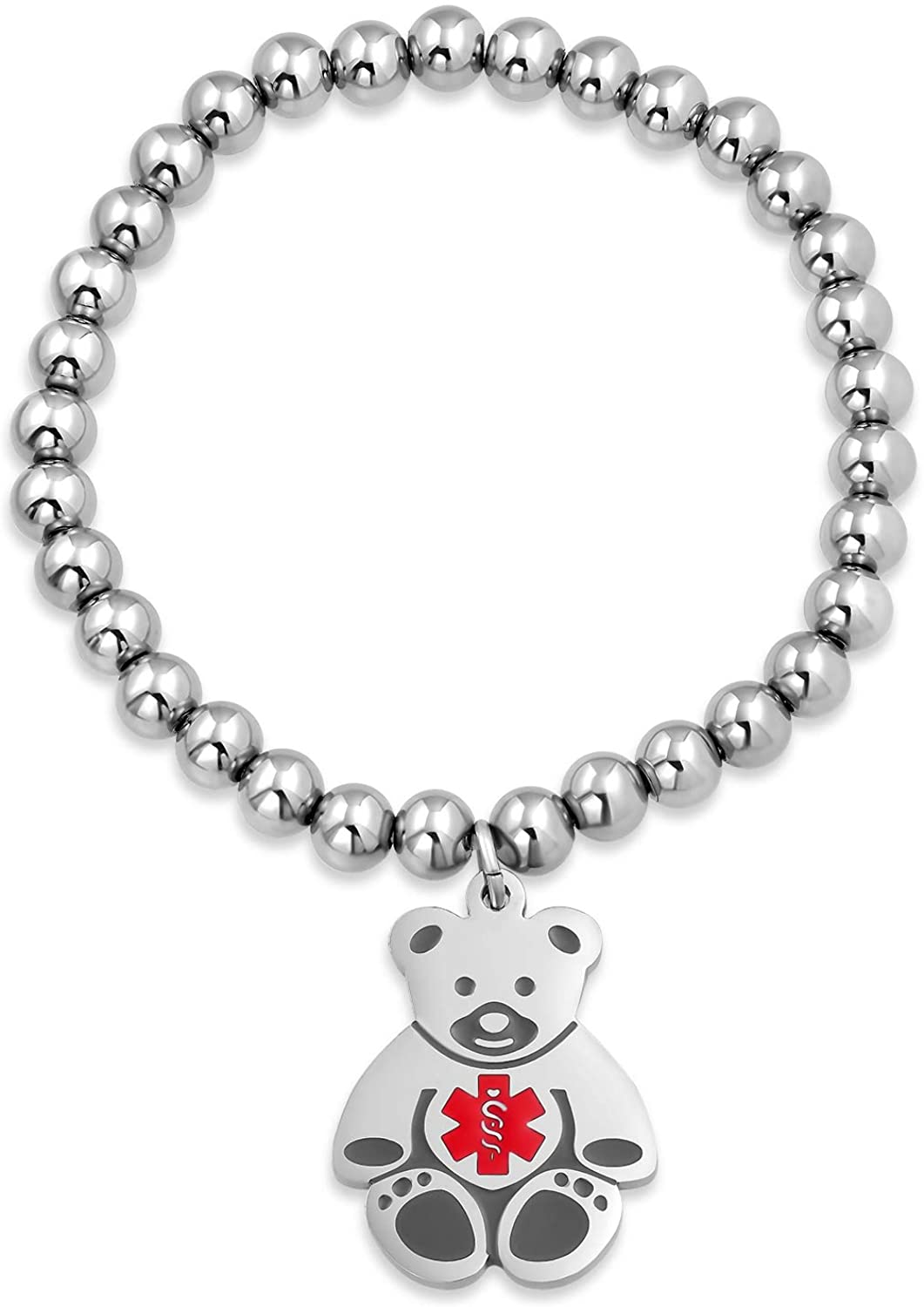 Personalize Customizable Medical Alert ID Stretch Bead Bracelet Teddy Bear Charm Tag Engrave for Women Teen Silver Tone