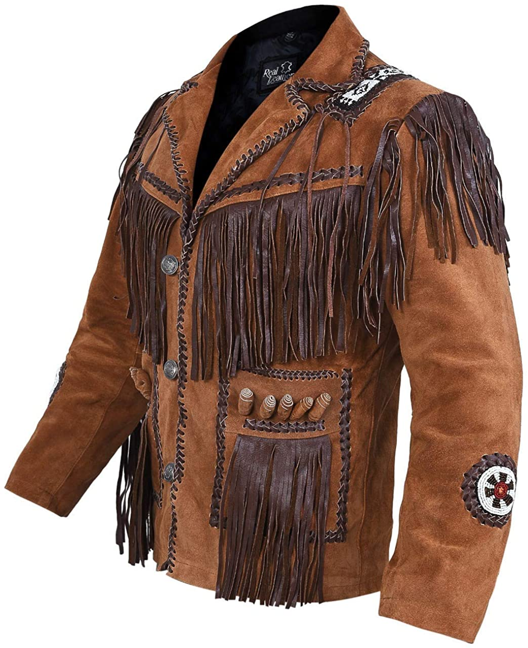 Mens Cowboy Western Suede Leather Jacket with Bones Beads Fringes- Bikers Style Mens Classic Fashion.