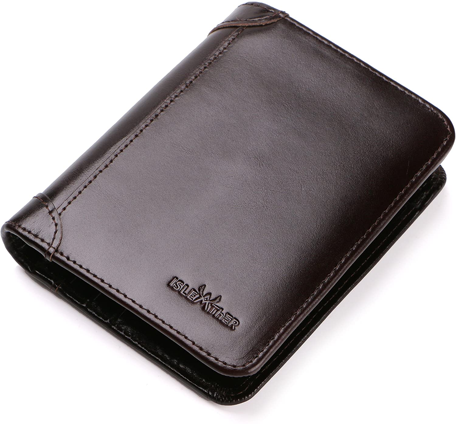 RFID Blocking Trifold Bifold Slim Extra Capacity Genuine Leather Wallet for Men