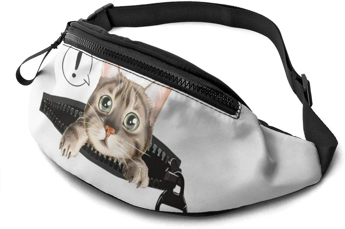 cute cat in zip Fanny Pack for Men Women Waist Pack Bag with Headphone Jack and Zipper Pockets Adjustable Straps