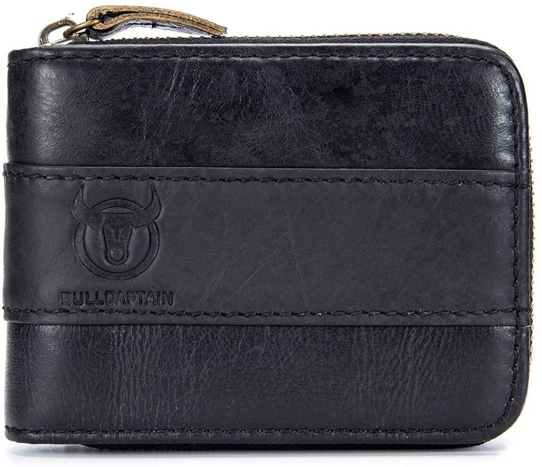 Mens Leather Wallet, RFID Blocking Vintage Zip Around Bifold Wallet Credit Card Holder (black)