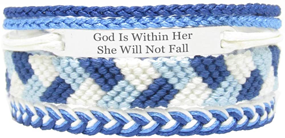 Miiras Christian Handmade Bracelet - God is Within Her She Will Not Fall - Blue - Made of Embroidery Thread and Stainless Steel - Gift for Women, Girls, Friends, Mothers, Daughters, Aunts