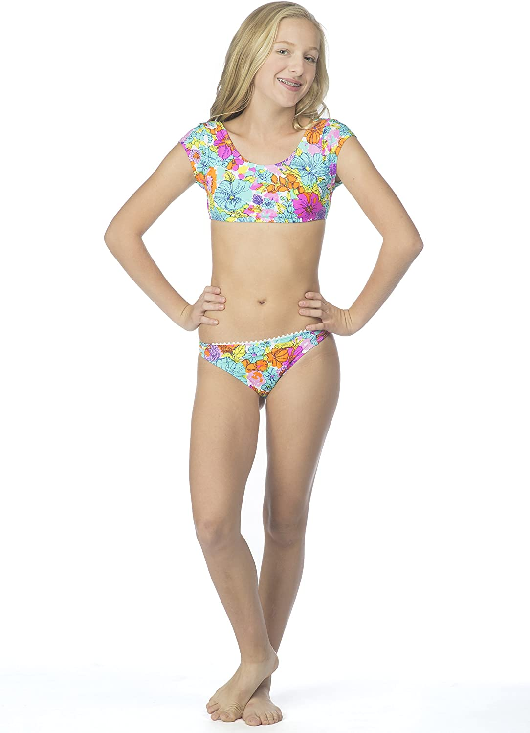 Hobie Girls' Big Fleur to Love Two Piece Short Sleeve Crop Hipster Swimsuit
