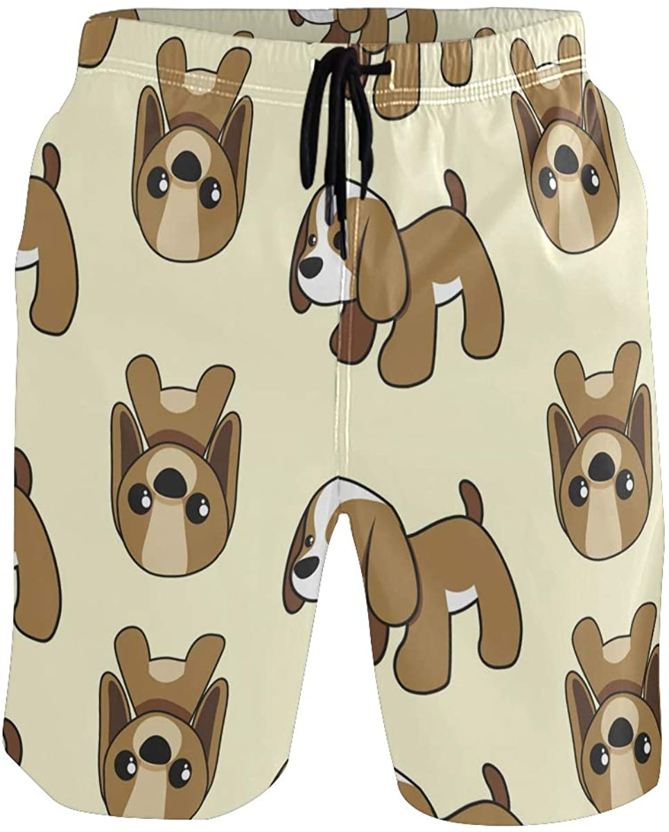 Mens Swim Trunks Cute Animal Cat Dog Swimming Trunks with Pocket Beach Shorts