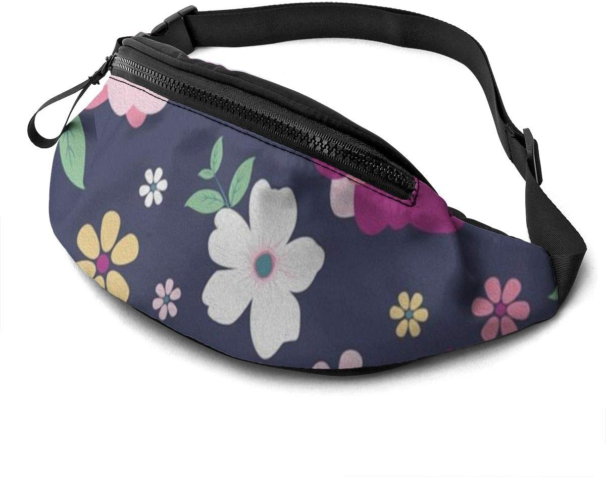 cartoon flower shading Fanny Pack for Men Women Waist Pack Bag with Headphone Jack and Zipper Pockets Adjustable Straps