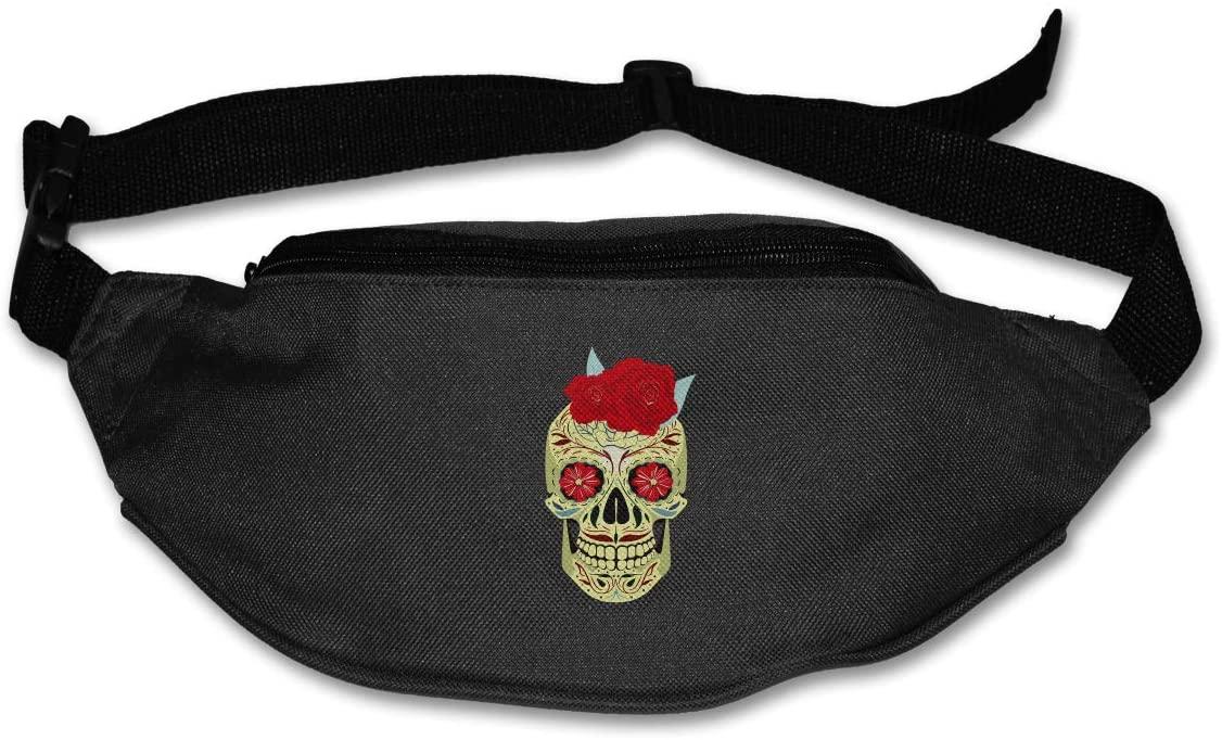 SWEET-YZ Unisex Waist Pack Sugar Skull Rose Flat Fanny Bag Pack for Sport Running