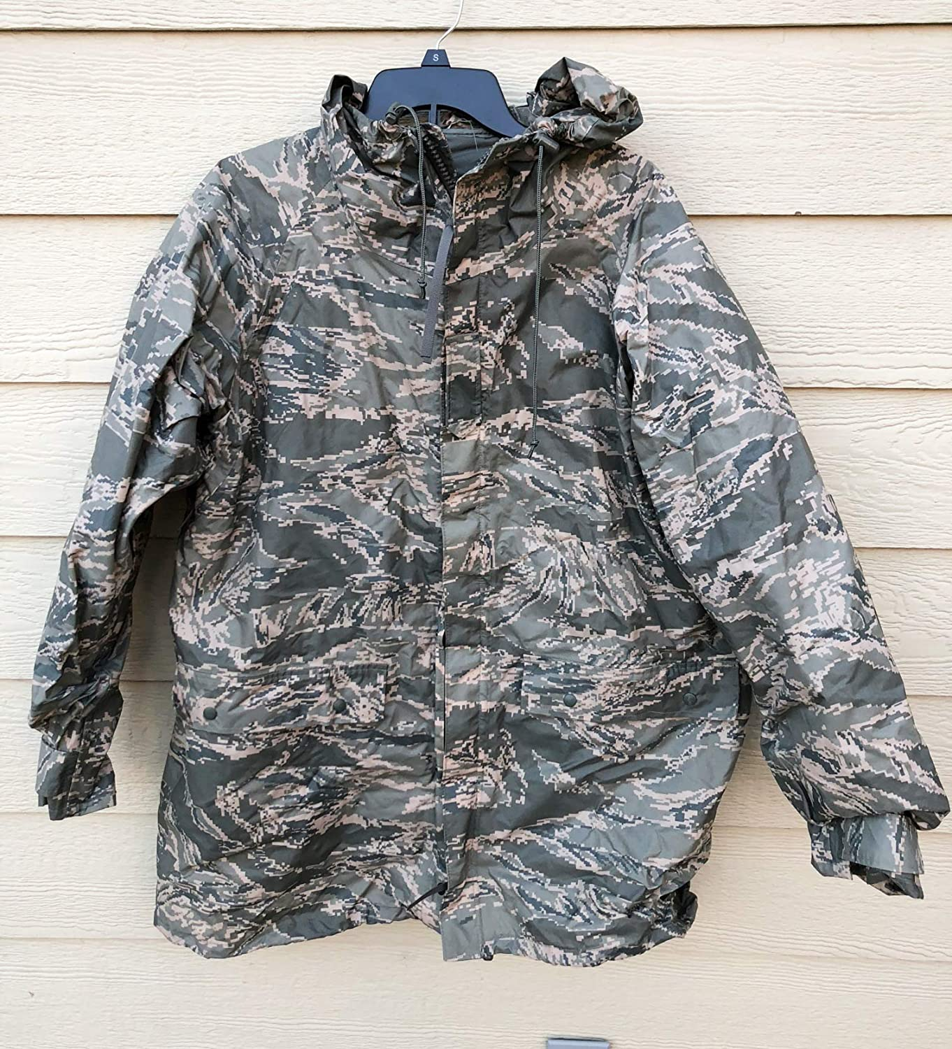 Genuine Usaf Apecs Abu Tiger Stripe Improve Rainsuit Parka With Liner - Small.