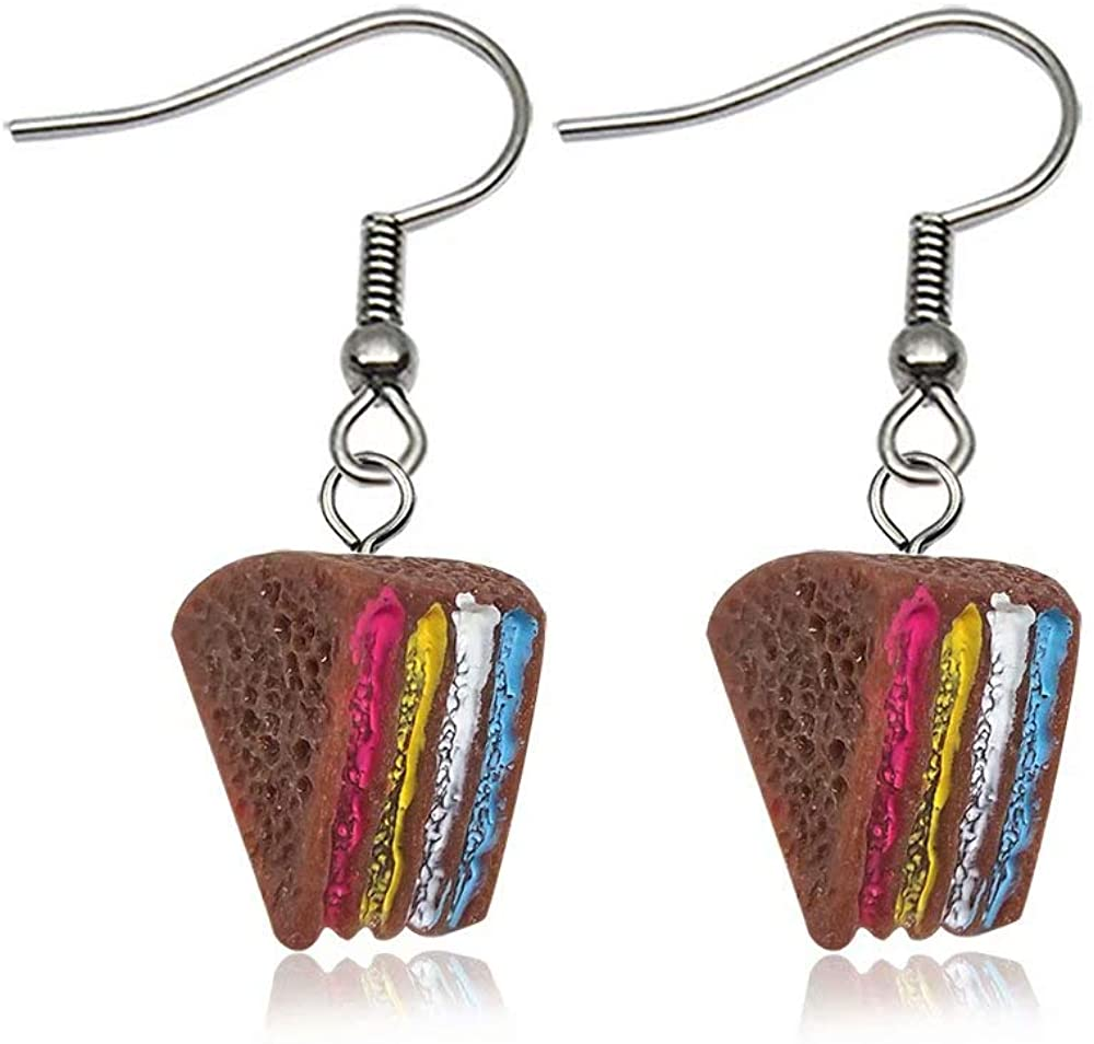 1Pair Personality simulation Cute Food Cake sandwich Lovely Cartoon Drop Earrings Funny Party Girl Jewelry Gift