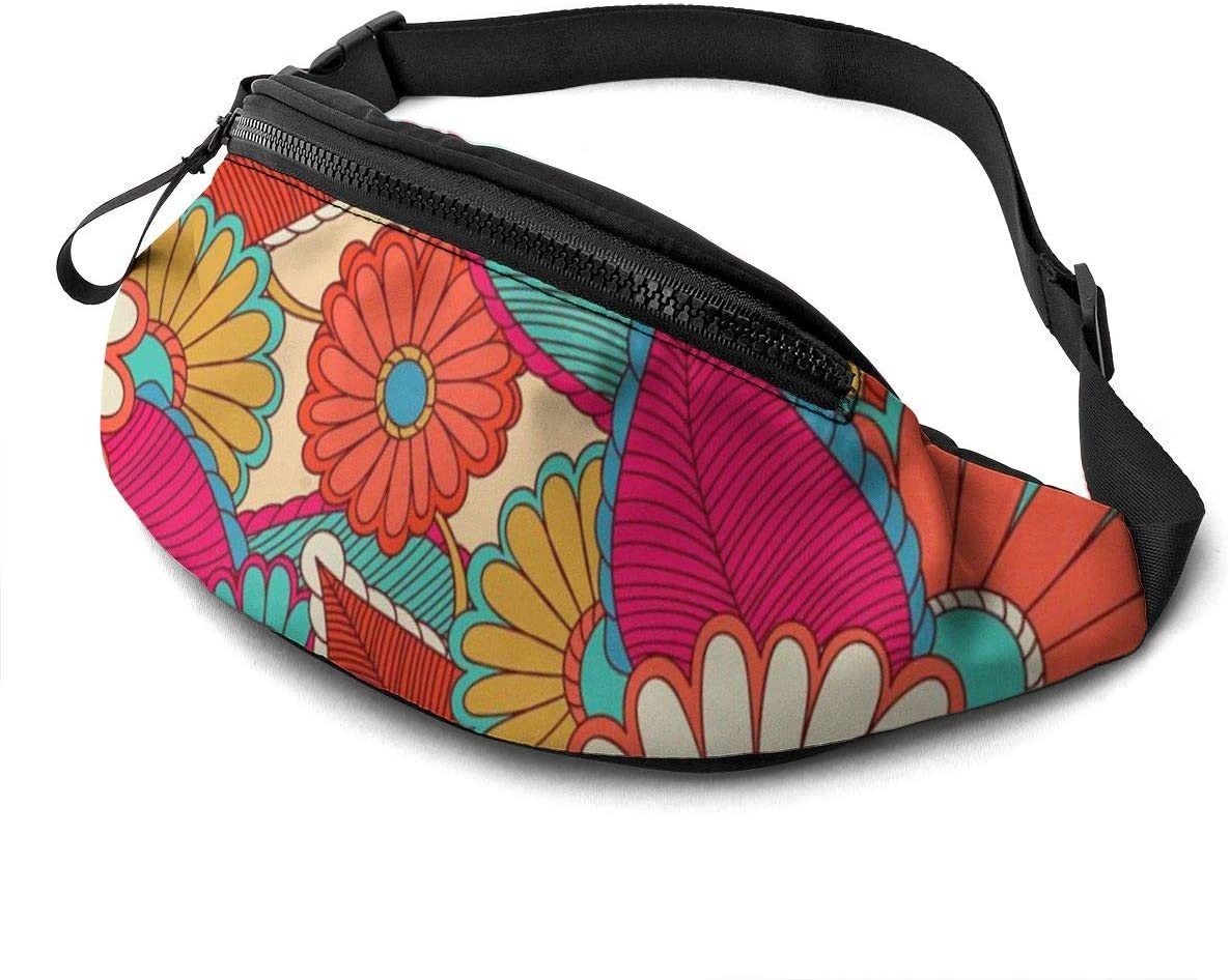 Floral Pattern Fanny Pack For Men Women Waist Pack Bag With Headphone Jack And Zipper Pockets Adjustable Straps