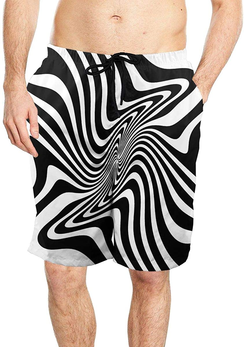 Curly Wave Curve Graph Men's Seaside Beach Swim Trunks Quick-Drying Stretch Comfortable Shorts