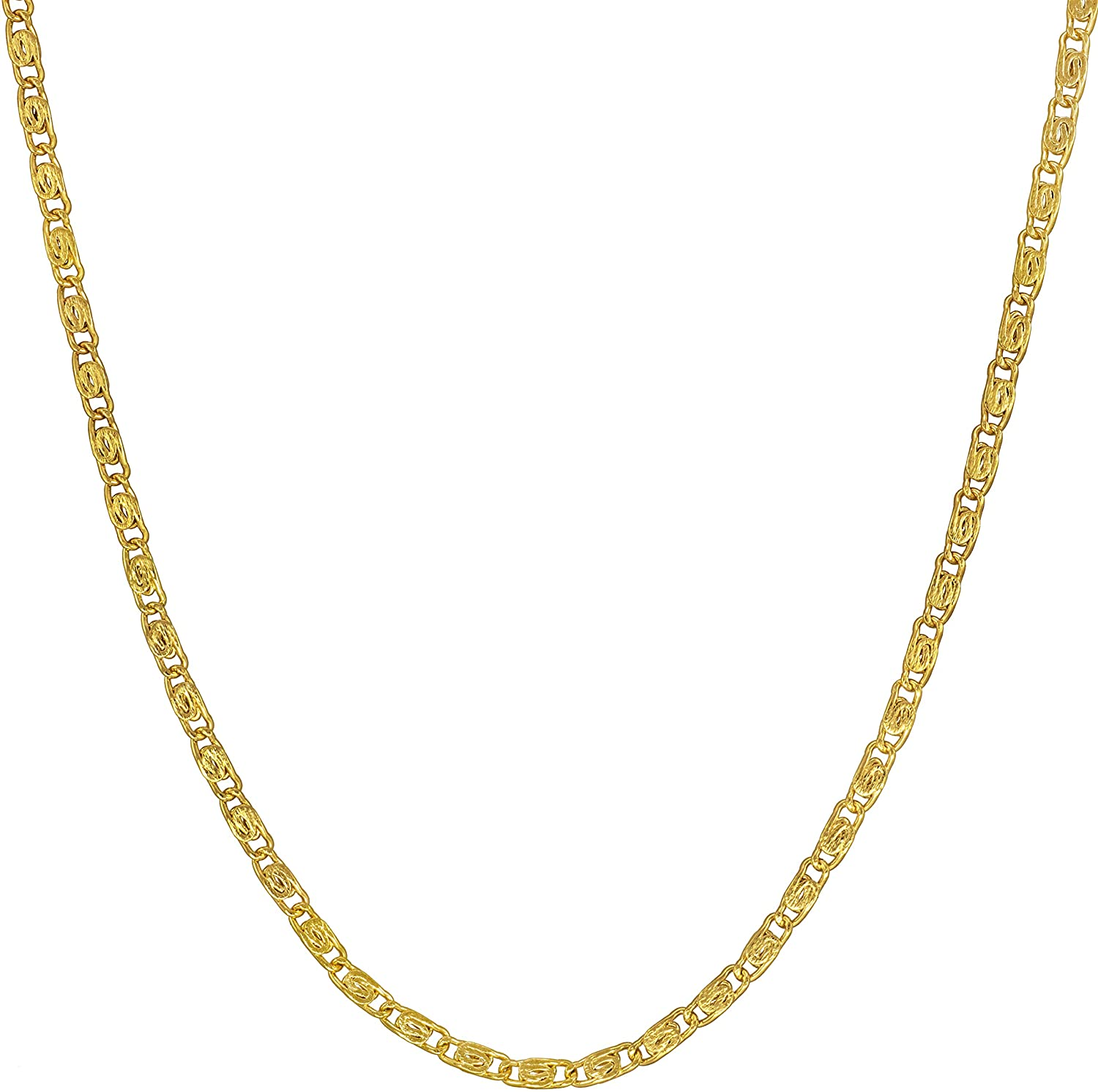 Lifetime Jewelry 1.9mm Scroll Link Chain Necklace 24k Gold Plated for Men & Women