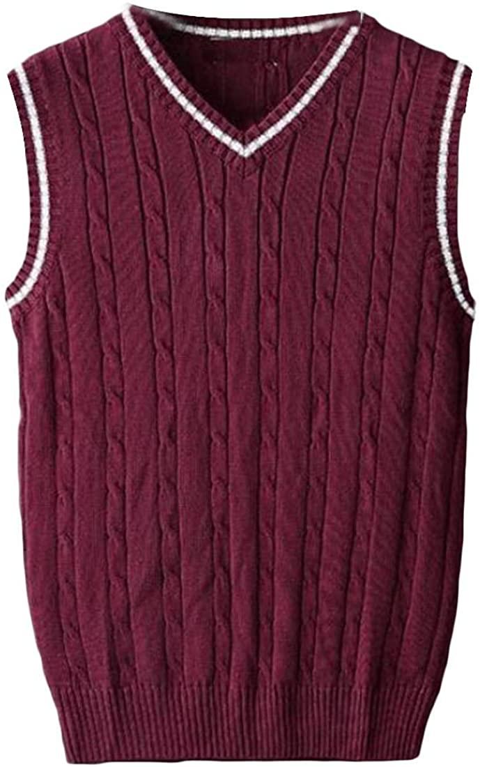 CYJ-shiba Mens Waistcoat Cable Knit Sweater Vest V-Neck Solid Basic Slim Fit Waistcoats