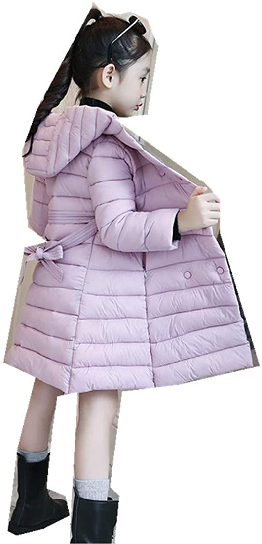 Girls Cotton Winter Children's Two-Color Suit Thick Coat Long Jacket Kids Sets Pink