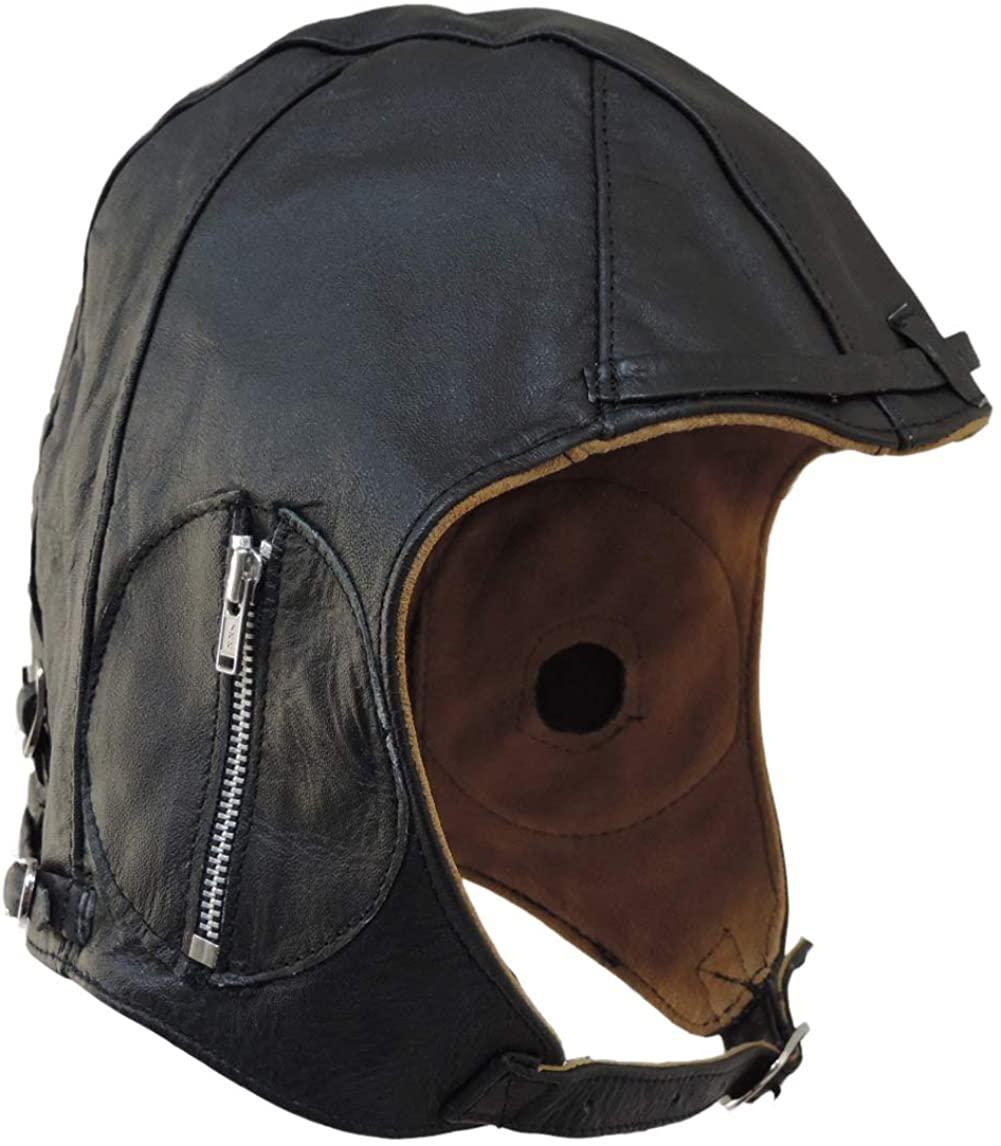 Aviator Helmet Black Leather Vintage Cap WWII Hat Large