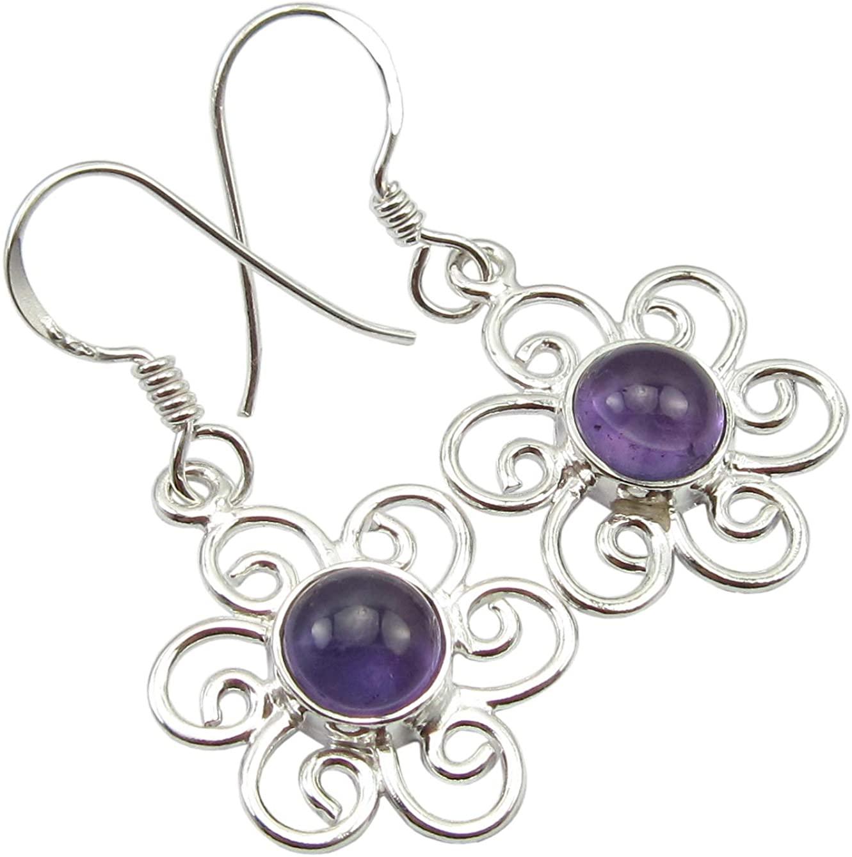 SilverStarJewel Sterling Silver Cabochon Amethyst Earrings 1.4 Wedding Fashion