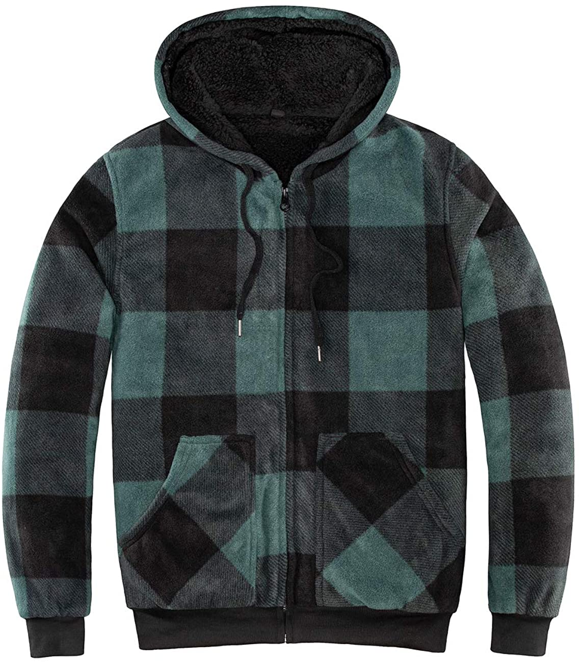 ZENTHACE Mens Thicken Sherpa Lined Checkered Flannel Hoodie Shirt Jacket