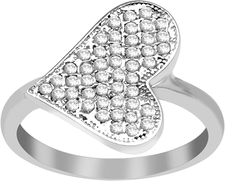 925 Sterling Silver Natural Zircon Gemstone Cluster Heart Shape Gift Ring