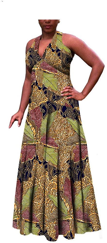 Afripride African Ankara Print Dress for Women Tailor Made Sleeveless Ankle Length Cotton Maxi Dress AA722516