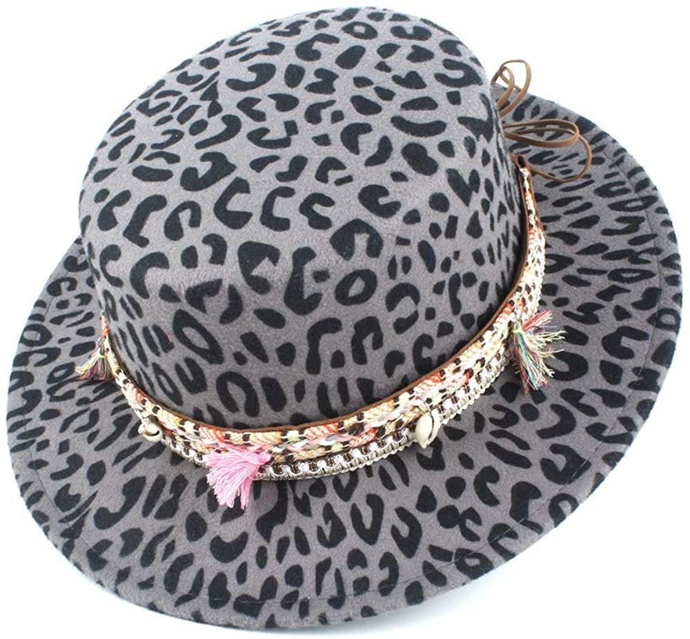 Bin Zhang Fashion Wool Polyester Flat Top Hat Men's Winter Wool Sombrero Flat Top Felt Hat Color Fringe Braid