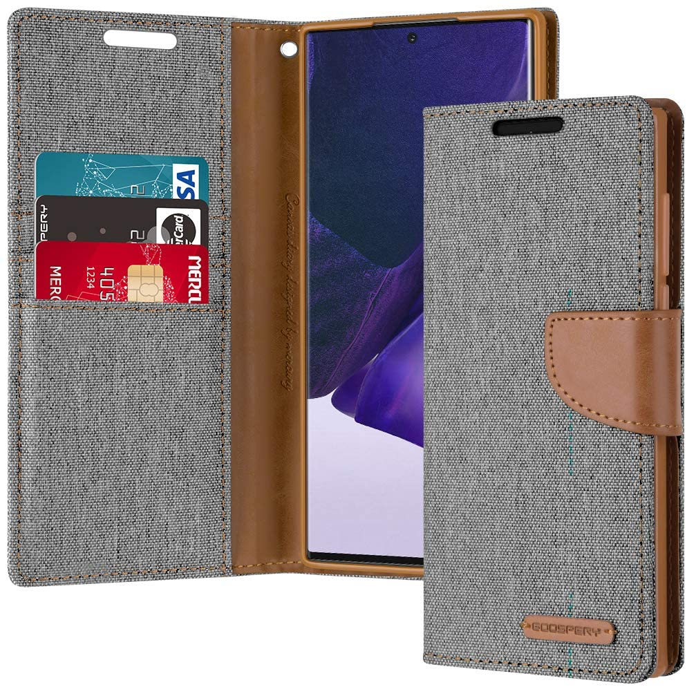 Goospery Canvas Wallet for Samsung Galaxy Note 20 Ultra Case (2020) Denim Stand Flip Cover (Gray) NT20U-CAN-GRY