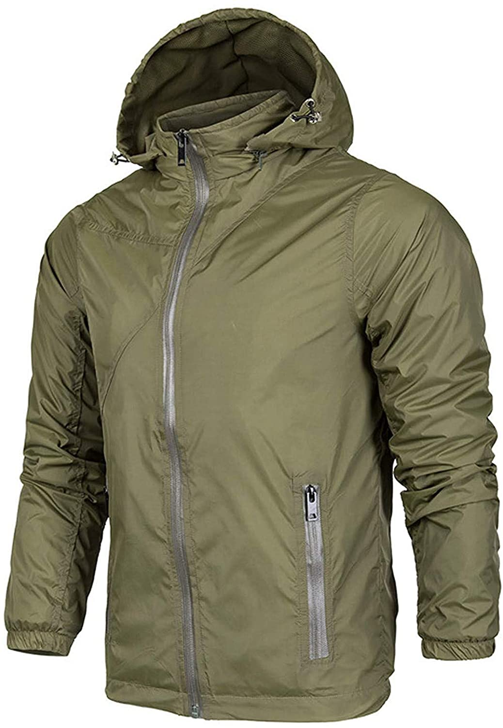 Men's Classic Hooded Waterproof Zipper Lightweight Shell Hiking Rain Jacket