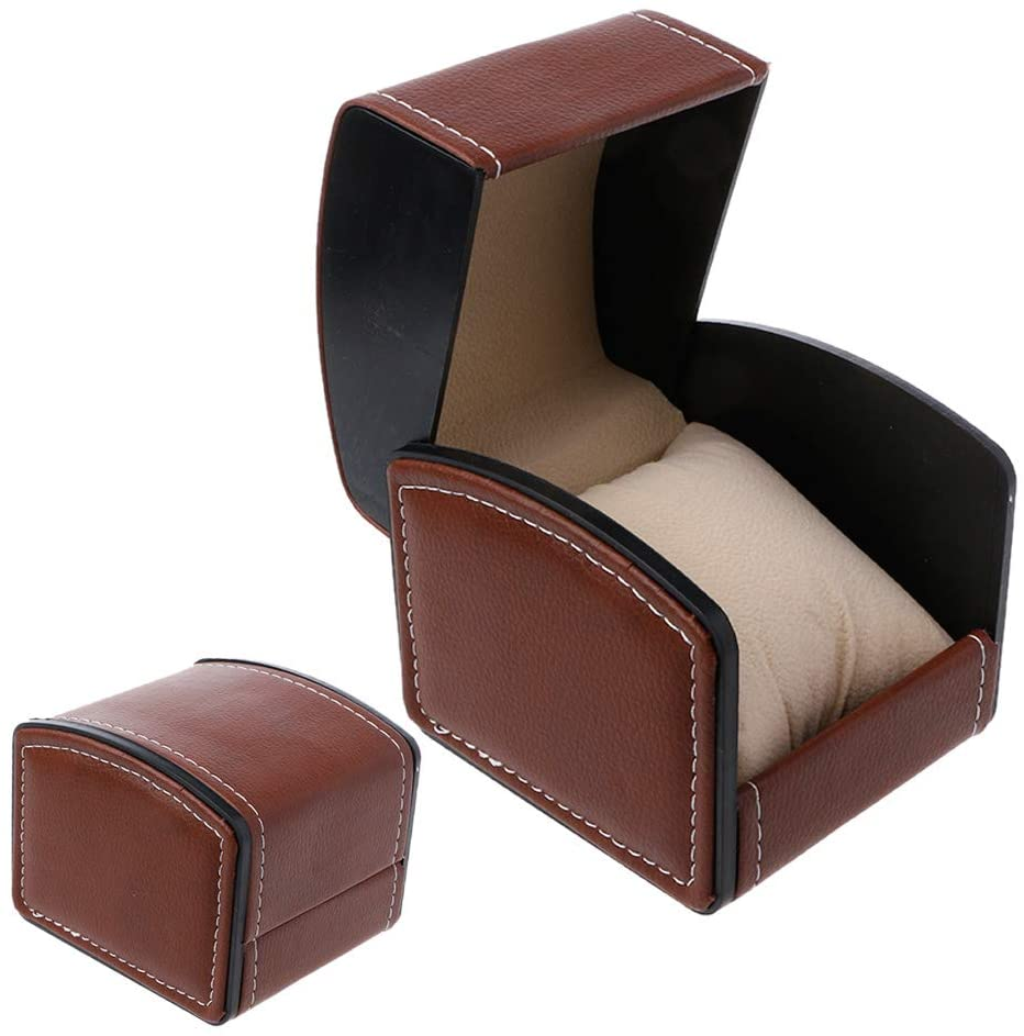 minansostey Luxury Faux Leather Watch Box with Pillow Package Case Bracelet, Stand Holder New