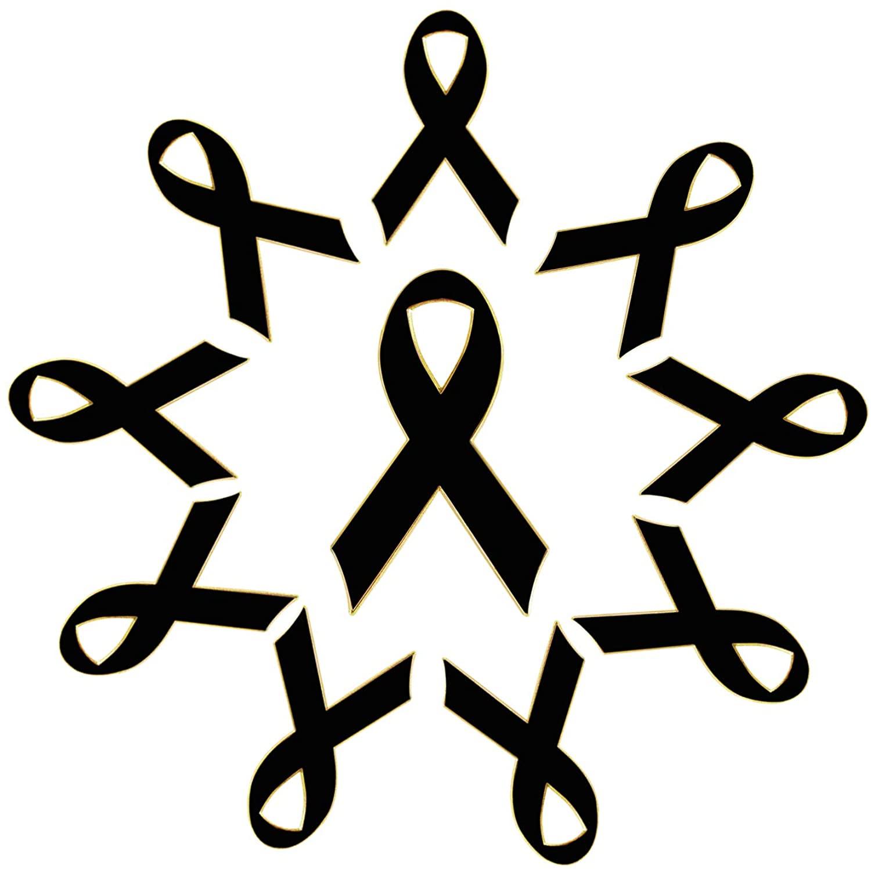 Metal Black Melanoma Awareness Ribbon 1.2