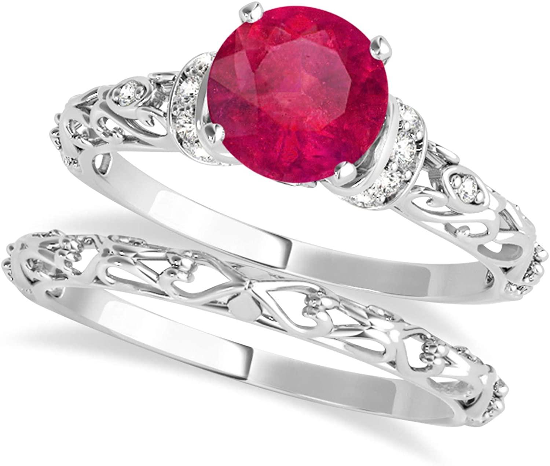 (1.12ct) Palladium Ruby and Diamond Antique-Style Bridal Set