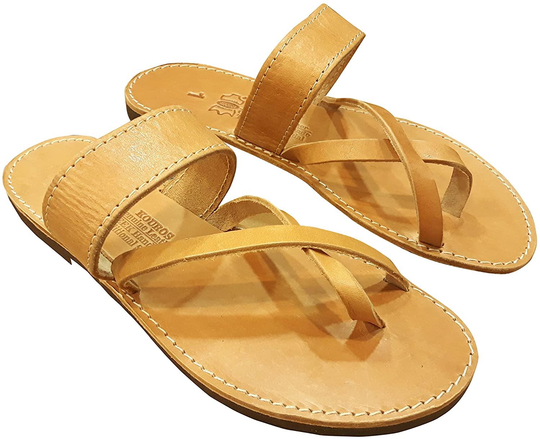 Ancient Greek Style Leather Sandals Roman Handmade Unisex Mens Womens Shoes Gladiator Spartan MEGAIRA Summer Flat Heel Flip Flops Natural Colour Strappy Slip-On Fashion