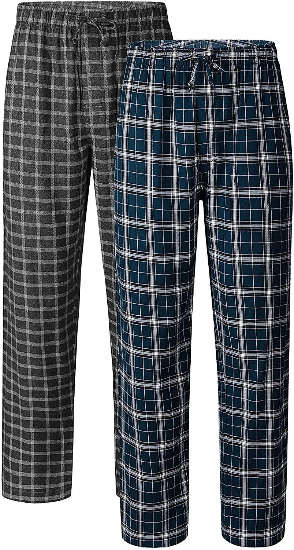 DAVID ARCHY Mens Comfy Jersey Soft Cotton Knit Pajama Long John Lounge Sleep Pant in 1/2 Pack
