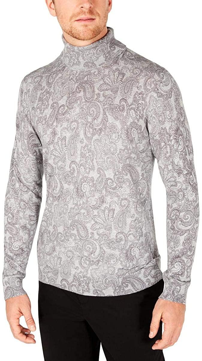 Tasso Elba Mens Cotton Printed Turtleneck Sweater
