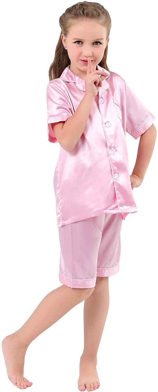 JOYTTON Kids Satin Pajamas Set PJS Short Sleeve Button-Down Sleepwear Loungewear