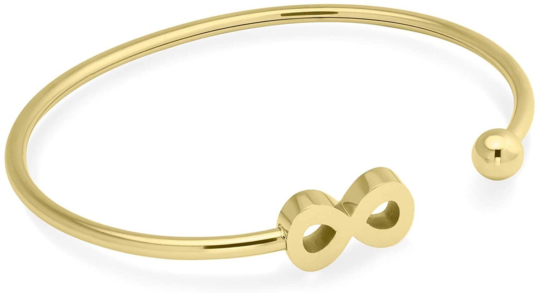 555Jewelry Stainless Steel Open Cuff Bangle Infinity Bracelet for Women & Girls