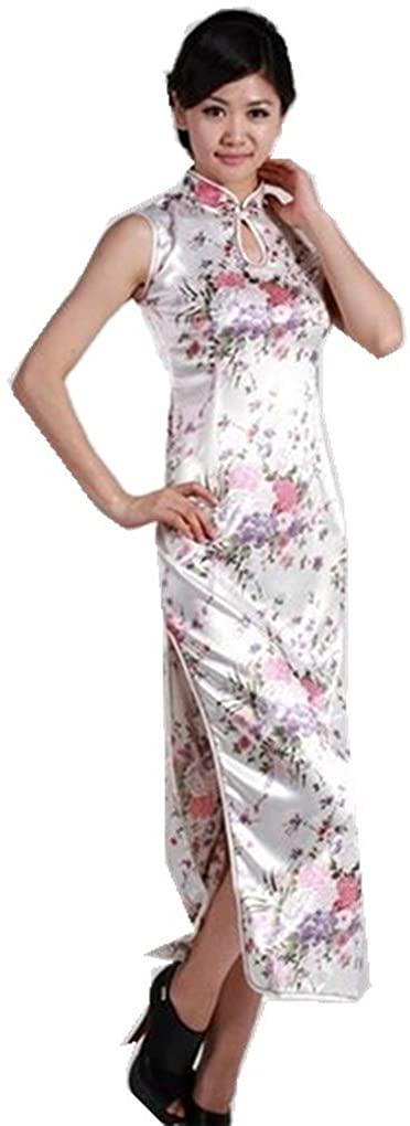 Shanghai Story Chinese Traditional Dress Long Cheongsam Floral Print Qipao