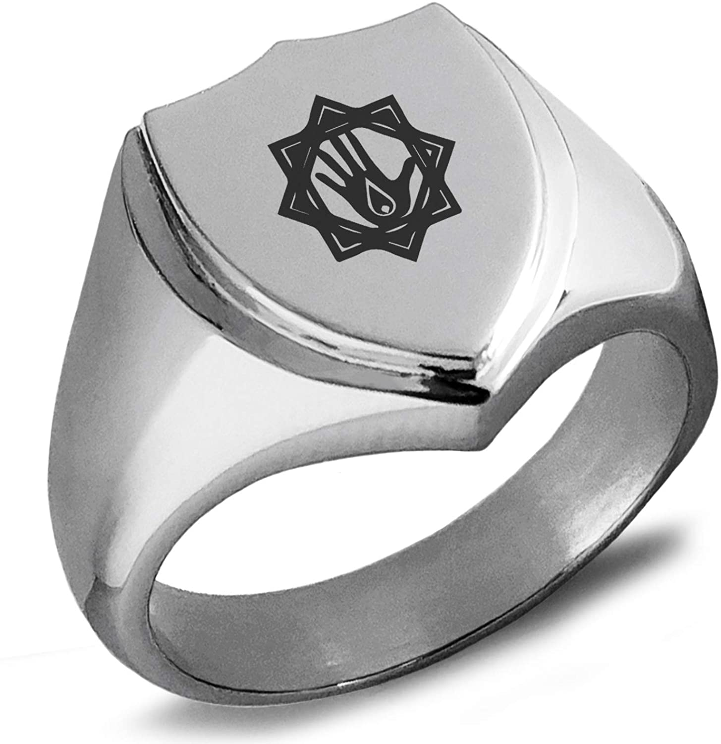 Tioneer Stainless Steel Blood Magic Rune Shield Biker Style Polished Ring
