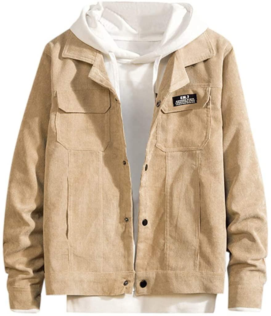 WINJUD Mens Jackets AutumnOutdoor Loose Coat Button Pocket Winter Windproof Casual Outerwear