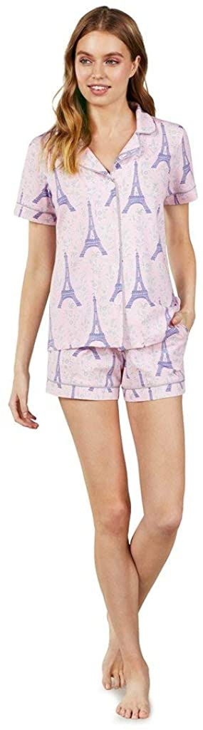 BedHead Pajamas Short Sleeve Classic Short Pajama Set Colette'S Eiffel MD (US 8-10)