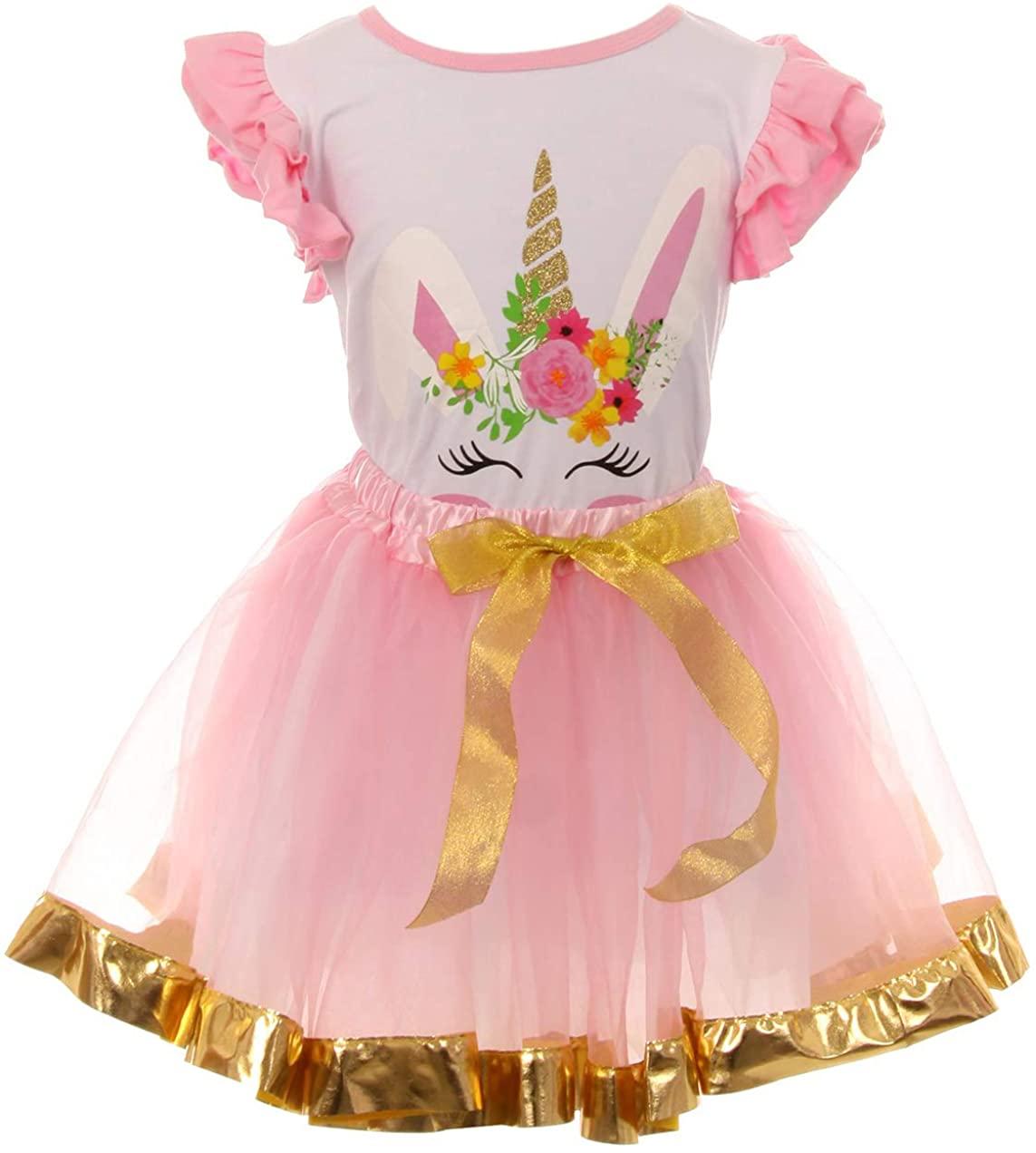 Girls 2 Pieces Skirt Set Unicorn T Shirt Top Tutu Tulle Party Kids Skirt Set
