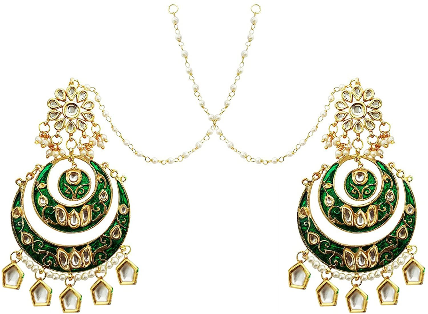 Mehrunnisa Traditional Uncut Kundan & Pearls Double Chand Bali Green Earrings With Kan Chain (JWL1583)