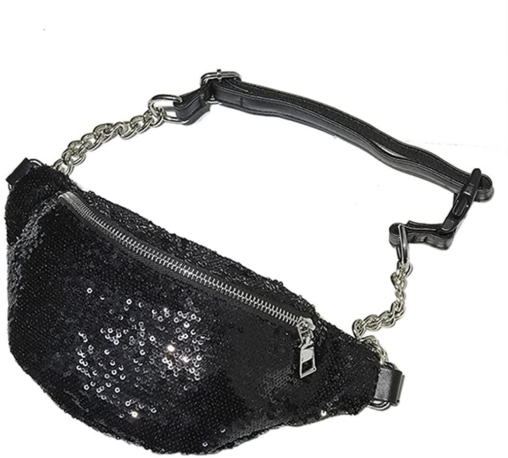 Aimeely Women Adult Glitter Sequins Waist Bag Adjustable Shoulder Chest Bum Bags