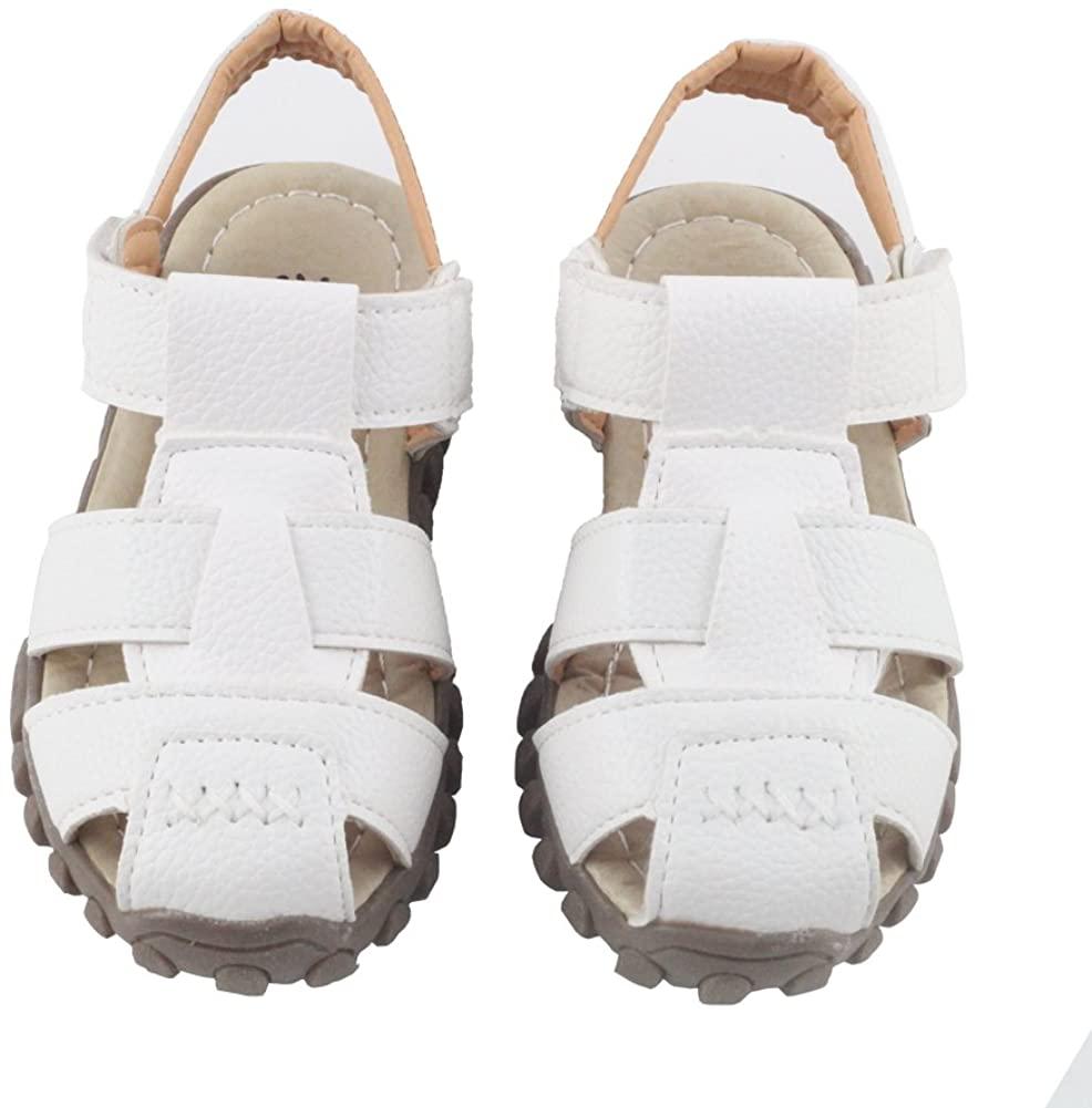 Otamise Boys Leather Athletic Closed-Toe Sandals Breathable Beach Sport Sandal (Toddler/Little Kid/Big Kid)
