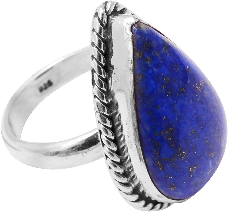 Silver Palace Natural Lapis Lazuli Gemstone 925 Sterling Silver Teardrop Ring